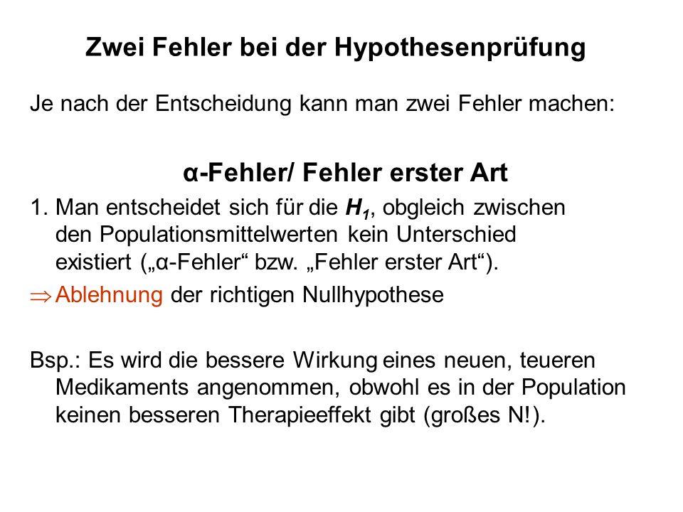 Zwei Fehler bei der Hypothesenprüfung 2.β-Fehler bzw.