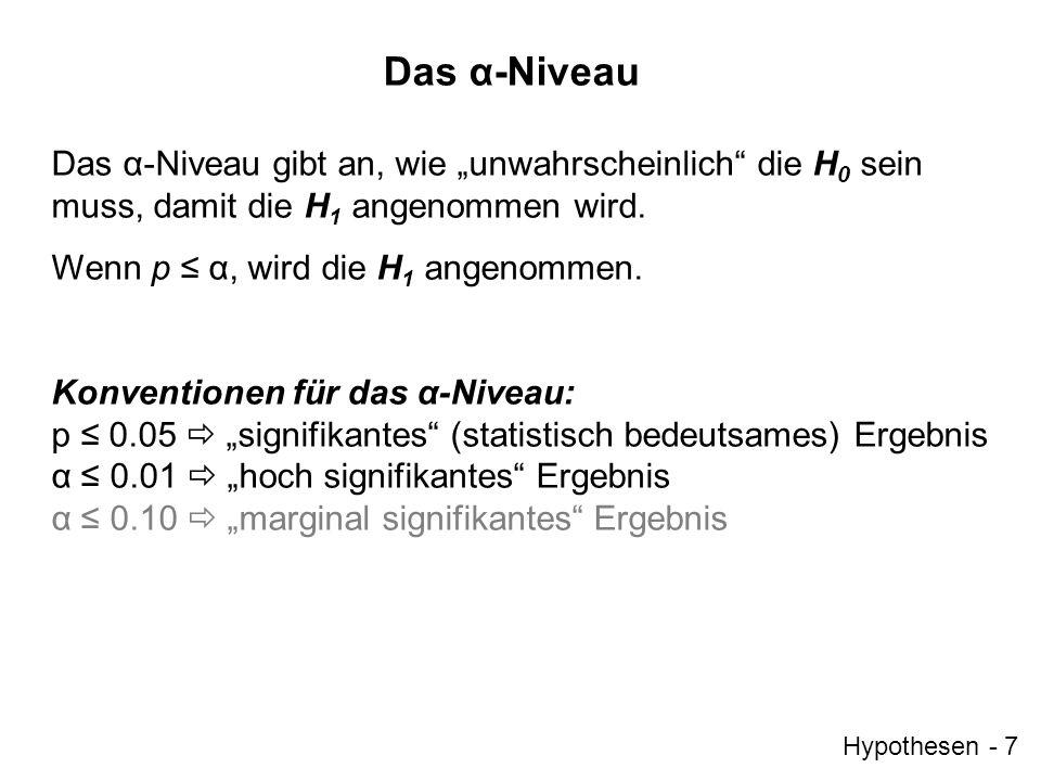 Hypothesen - 7 Das α-Niveau Das α-Niveau gibt an, wie unwahrscheinlich die H 0 sein muss, damit die H 1 angenommen wird. Wenn p α, wird die H 1 angeno