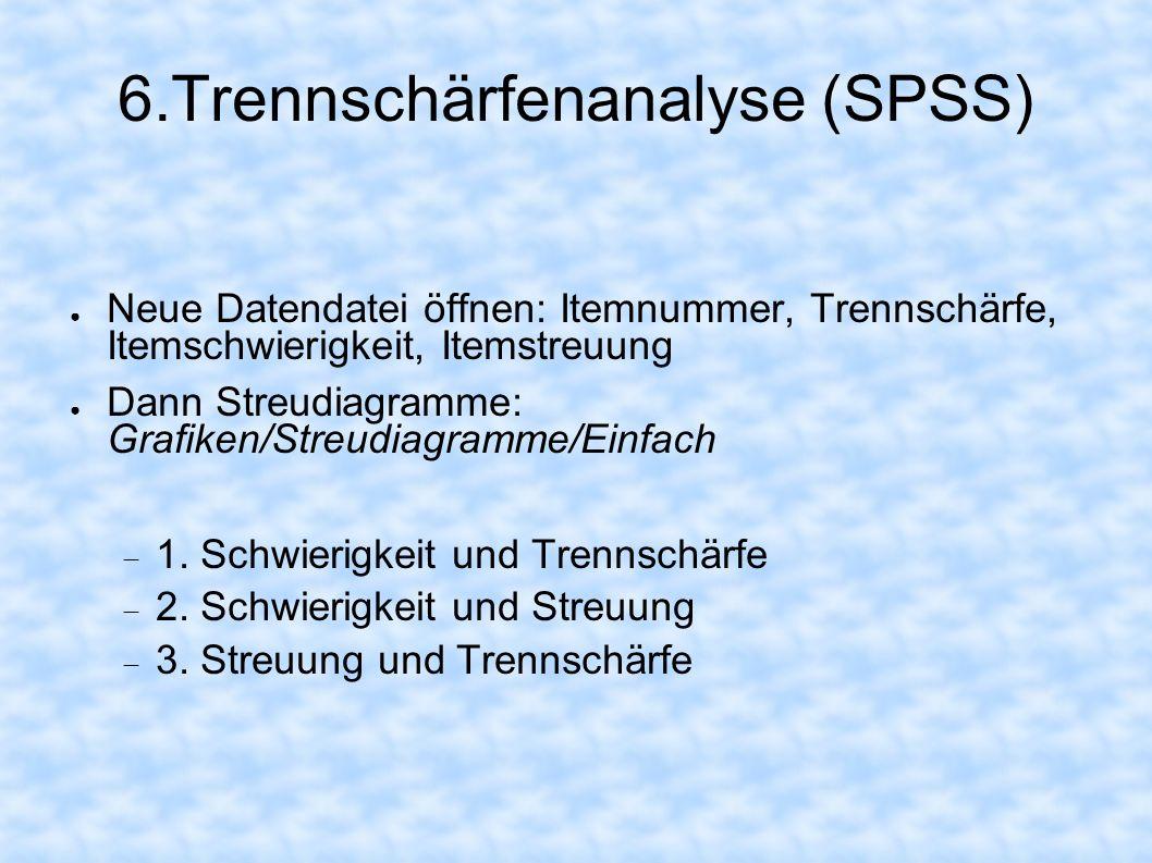 6.Trennschärfenanalyse (SPSS) Neue Datendatei öffnen: Itemnummer, Trennschärfe, Itemschwierigkeit, Itemstreuung Dann Streudiagramme: Grafiken/Streudia