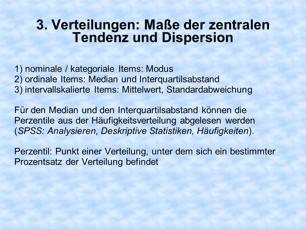 3. Verteilungen: Maße der zentralen Tendenz und Dispersion 1) nominale / kategoriale Items: Modus 2) ordinale Items: Median und Interquartilsabstand 3