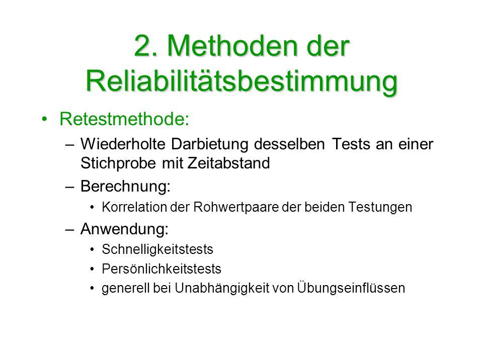2. Methoden der Reliabilitätsbestimmung Retestmethode: –Wiederholte Darbietung desselben Tests an einer Stichprobe mit Zeitabstand –Berechnung: Korrel