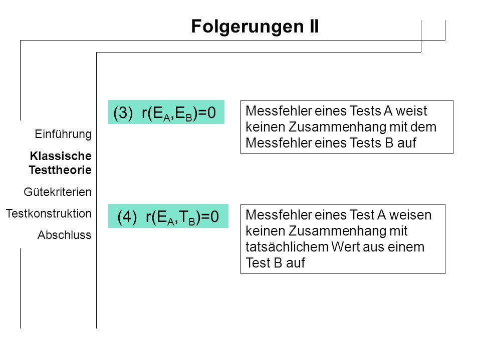 Einführung Klassische Testtheorie Gütekriterien Testkonstruktion Abschluss Anmerkungen Kernkonzept der kT: Reliabilität kT gilt nur für intervallskalierte Daten Kritik: reine Messfehlertheorie einige Annahmen nicht überprüfbar oder widerlegbar keine Annahme über Zustandekommen einer Leistung Testwerte der kT stichprobenabhängig r tt =S T 2 /S X 2