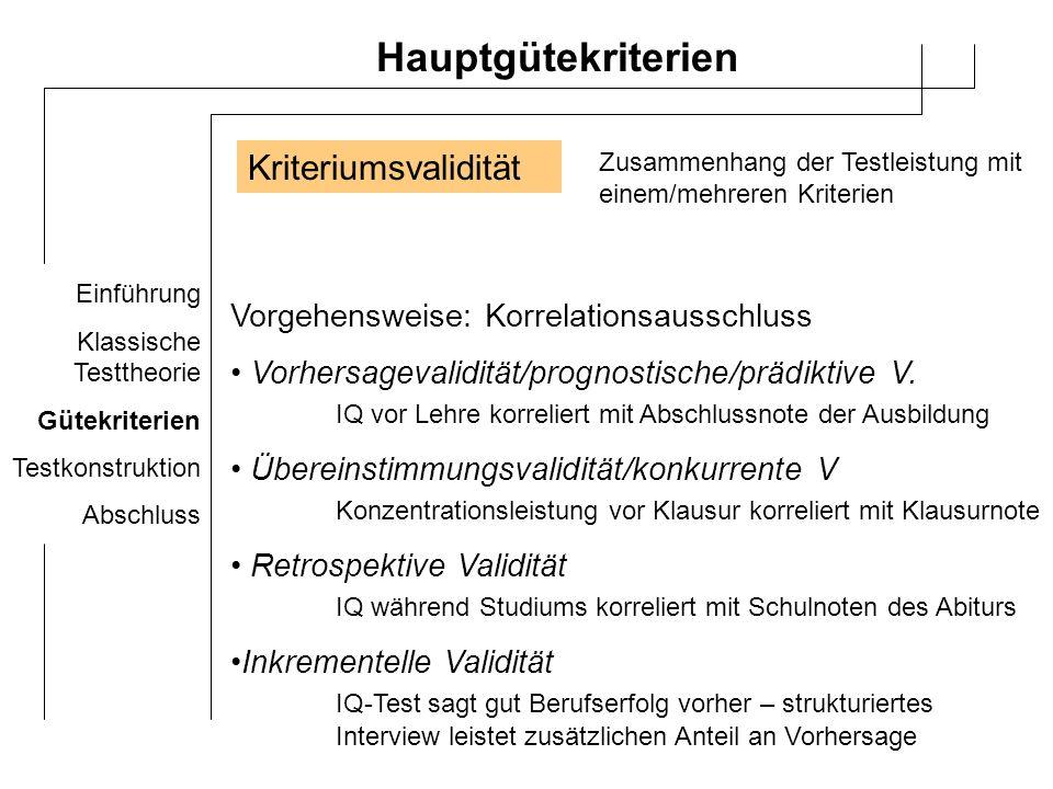 Einführung Klassische Testtheorie Gütekriterien Testkonstruktion Abschluss Hauptgütekriterien Konstrutkvalidität Test misst Eigenschaft/Fähigkeit, die er messen soll konkurrente/konvergente Validität Korrelation mit Tests gleicher/ähnlicher Gültigkeitsbereiche Diskriminative/divergente Validität Korrelation mit Tests anderer Gültigkeitsbereiche Methode zur Bestimmung: - Korrelationen - Faktorenanalyse - Multitrait-Multimethoden-Ansatz