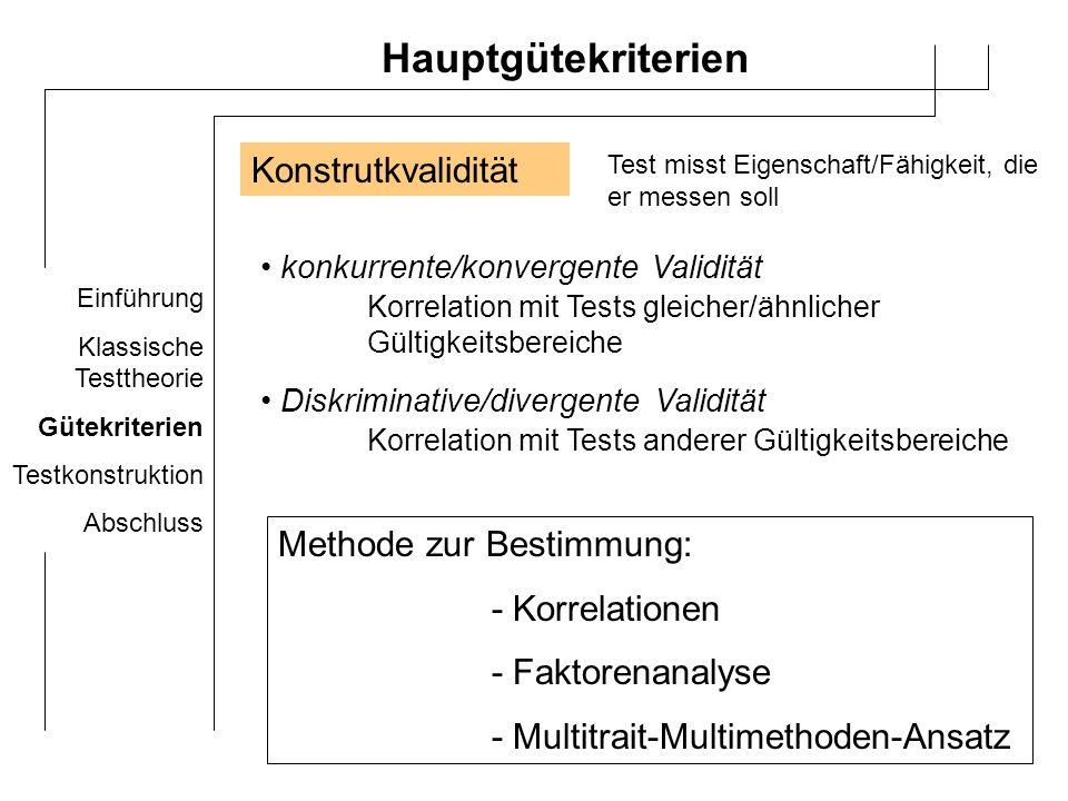 Einführung Klassische Testtheorie Gütekriterien Testkonstruktion Abschluss Multitrait-Multimethoden-Ansatz Bildung von 4 Korrelationsmatrizen: A.Monotrait-Monomethoden Matrix Kennwerte für Intelligenz mit gleicher Methode erfasst (Test) – korrelieren am höchsten miteinander B.