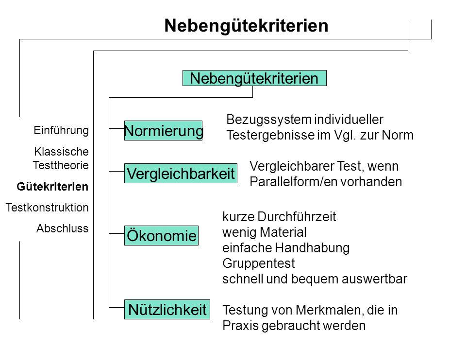 Einführung Klassische Testtheorie Gütekriterien Testkonstruktion Abschluss 10 Stufen der Testentwicklung 1.
