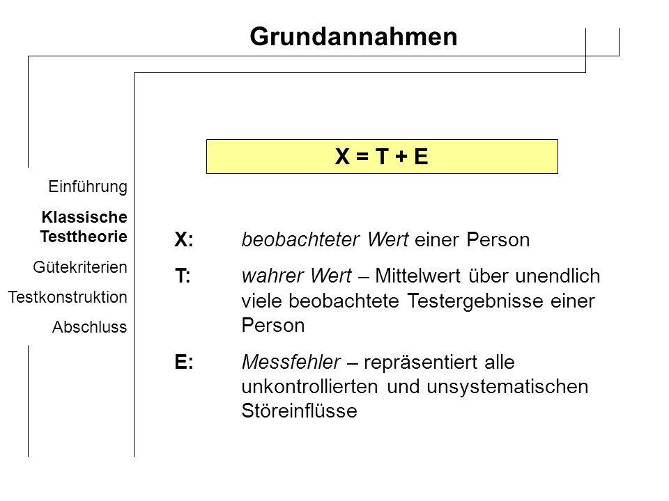 Einführung Klassische Testtheorie Gütekriterien Testkonstruktion Abschluss Folgerungen I (1) M(E) I =0; M(E) P =0 (2) r(E,T)=0 Mittelwert des Messfehlers über unendlich viele Messungen einer Person I ist Null; ebenso Null bei einer Messung einer Teil-/Population kein Zusammenhang zwischen Messfehler und wahren Wert einer Person
