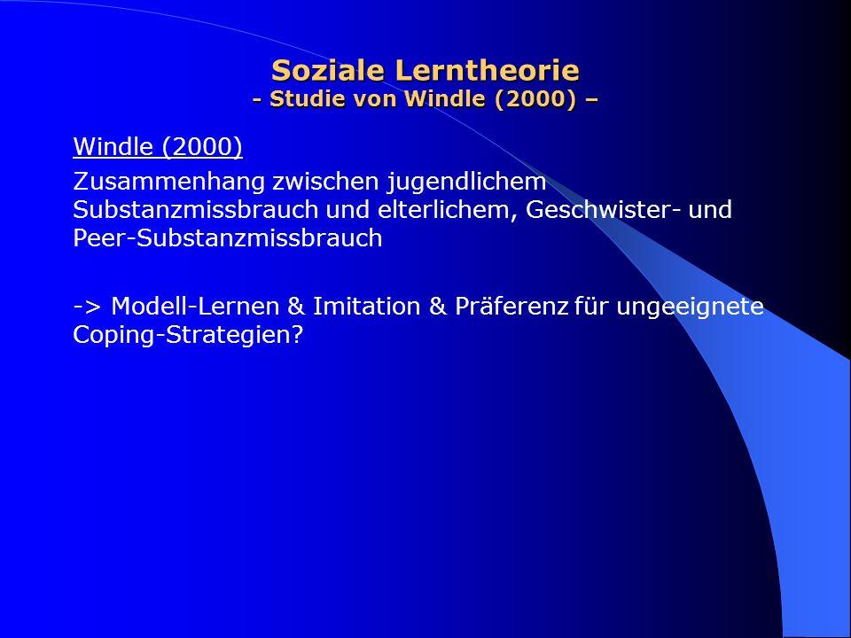 Soziale Lerntheorie - Studie von Windle (2000) – Windle (2000) Zusammenhang zwischen jugendlichem Substanzmissbrauch und elterlichem, Geschwister- und