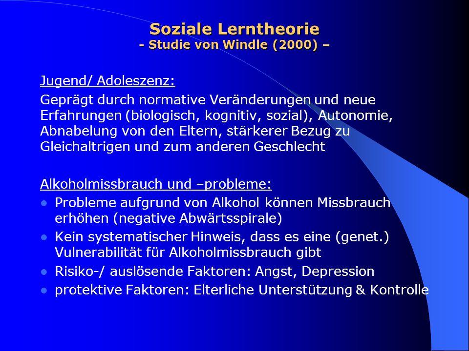 Soziale Lerntheorie - Studie von Windle (2000) – Studie: Methode: Fragebögen zu - familiärer Unterstützung - Temperament - kritischen Lebensereignissen - Alkohol-/ Drogenmissbrauch/ -problemen - Motive für Alkoholmissbrauch - Alkoholmissbrauch der Geschwister
