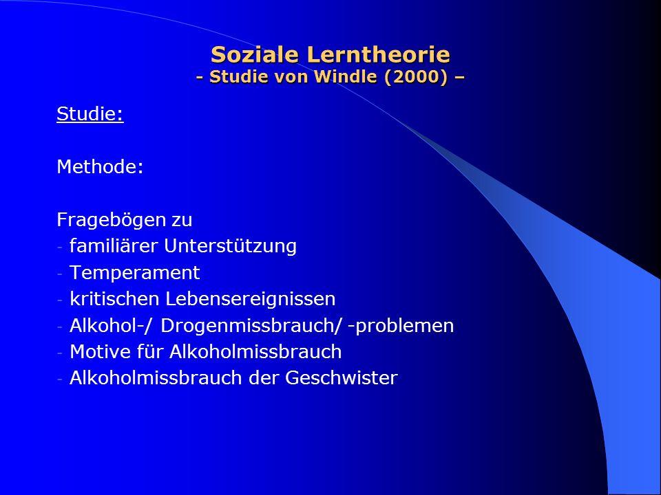 Soziale Lerntheorie - Studie von Windle (2000) – Studie: Methode: Fragebögen zu - familiärer Unterstützung - Temperament - kritischen Lebensereignisse