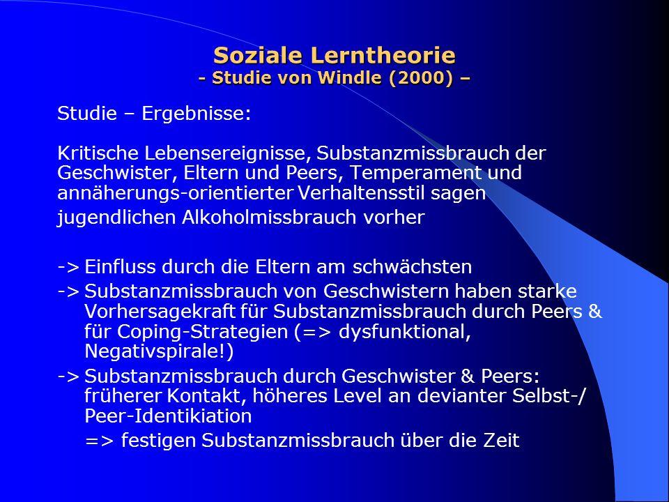 Soziale Lerntheorie - Studie von Windle (2000) – Studie – Ergebnisse: Kritische Lebensereignisse, Substanzmissbrauch der Geschwister, Eltern und Peers