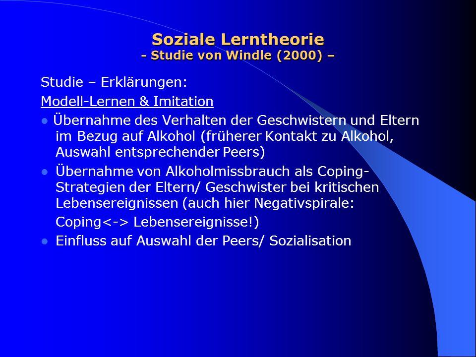 Soziale Lerntheorie - Studie von Windle (2000) – Studie – Erklärungen: Modell-Lernen & Imitation Übernahme des Verhalten der Geschwistern und Eltern i