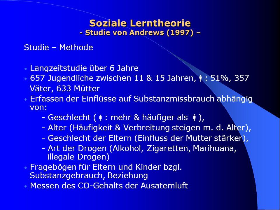 Soziale Lerntheorie - Studie von Andrews (1997) – Studie – Methode Langzeitstudie über 6 Jahre 657 Jugendliche zwischen 11 & 15 Jahren, : 51%, 357 Vät