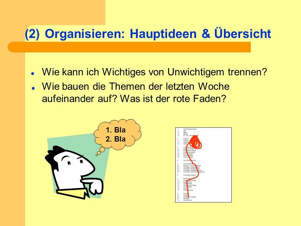 (2)Organisieren: Hauptideen & Übersicht Wie kann ich Wichtiges von Unwichtigem trennen? Wie bauen die Themen der letzten Woche aufeinander auf? Was is