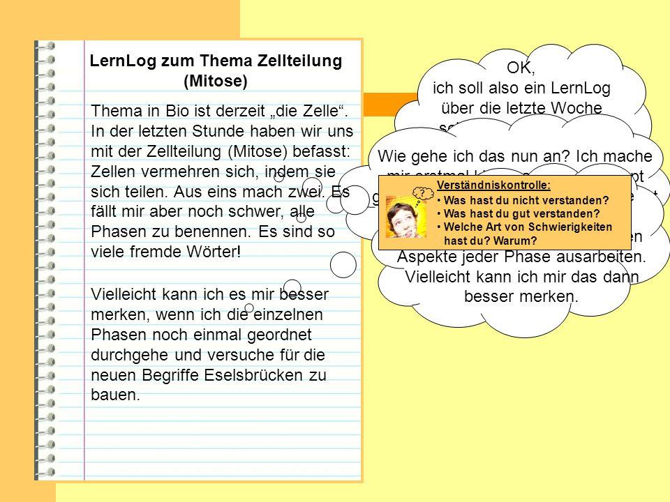 LernLog zum Thema Zellteilung (Mitose) OK, ich soll also ein LernLog über die letzte Woche schreiben. Thema warZellteilung, auch Mitose genannt. Wie g
