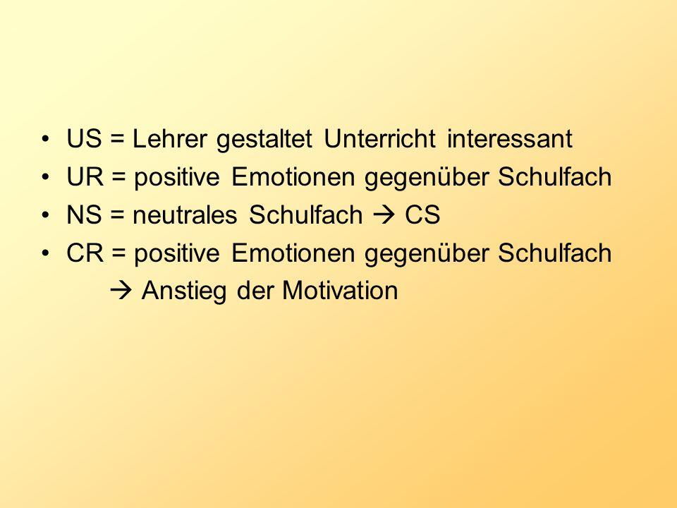 US = Lehrer gestaltet Unterricht interessant UR = positive Emotionen gegenüber Schulfach NS = neutrales Schulfach CS CR = positive Emotionen gegenüber