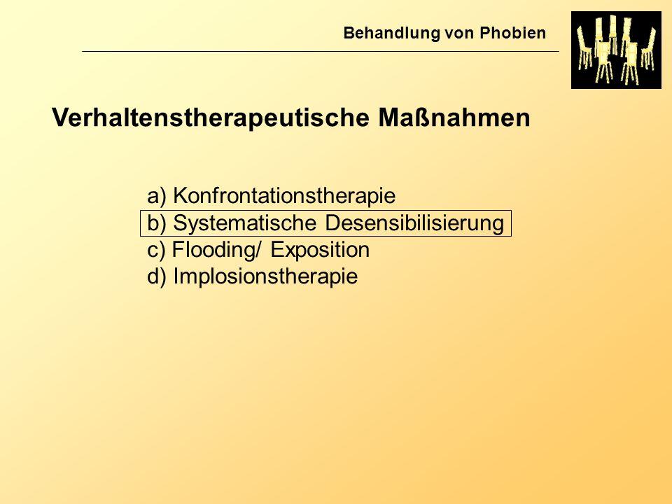 Verhaltenstherapeutische Maßnahmen Behandlung von Phobien a) Konfrontationstherapie b) Systematische Desensibilisierung c) Flooding/ Exposition d) Imp