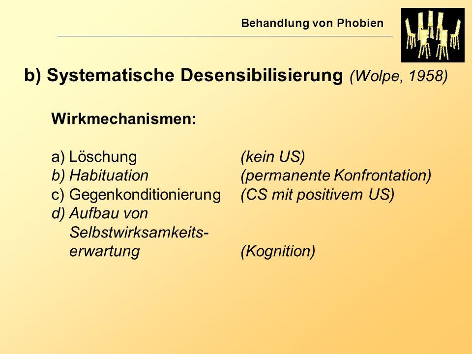 b) Systematische Desensibilisierung (Wolpe, 1958) Behandlung von Phobien Wirkmechanismen: a)Löschung (kein US) b)Habituation (permanente Konfrontation