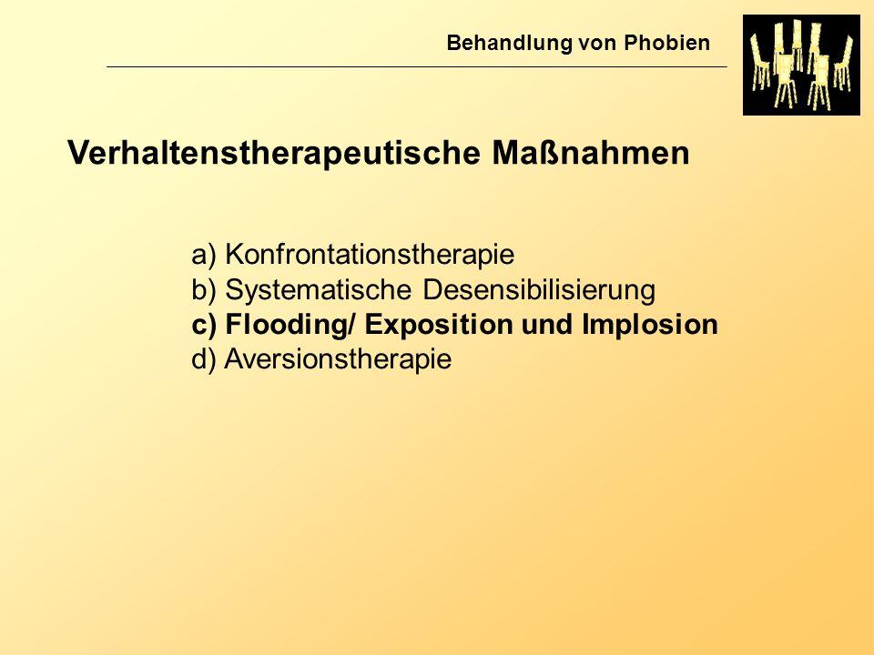 Verhaltenstherapeutische Maßnahmen Behandlung von Phobien a) Konfrontationstherapie b) Systematische Desensibilisierung c) Flooding/ Exposition und Im