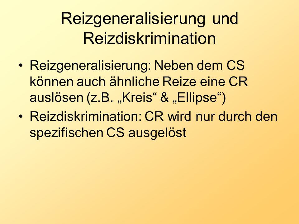 Reizgeneralisierung und Reizdiskrimination Reizgeneralisierung: Neben dem CS können auch ähnliche Reize eine CR auslösen (z.B. Kreis & Ellipse) Reizdi