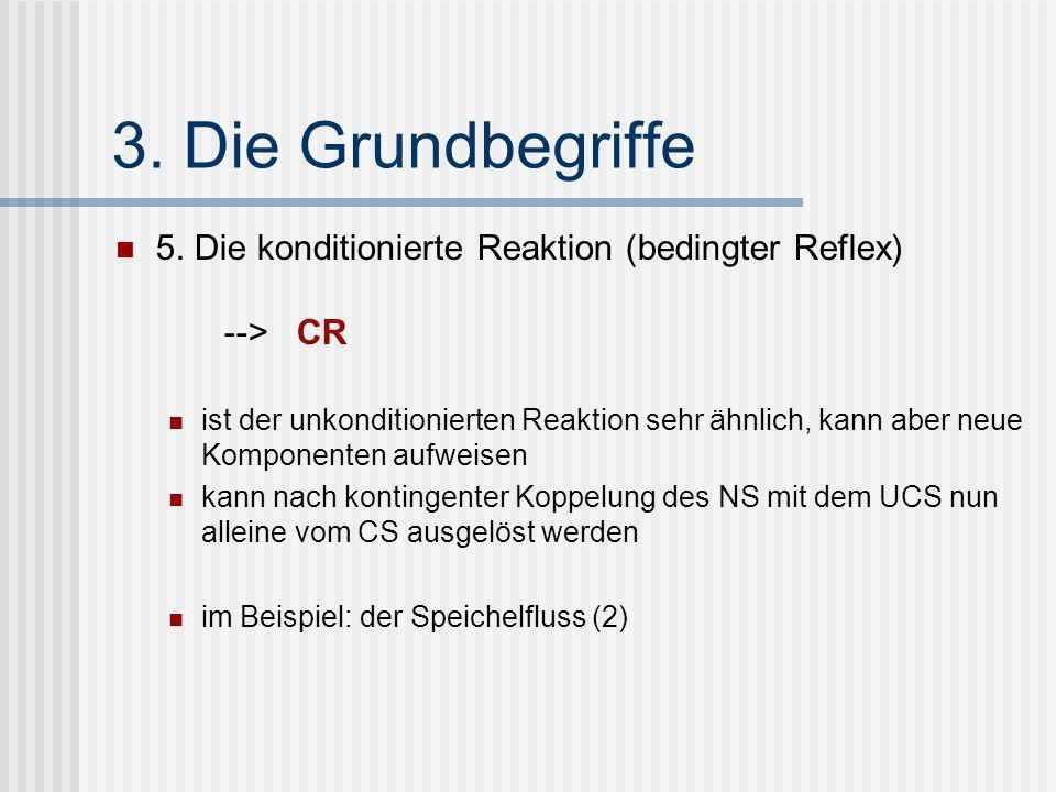 3. Die Grundbegriffe 5. Die konditionierte Reaktion (bedingter Reflex) --> CR ist der unkonditionierten Reaktion sehr ähnlich, kann aber neue Komponen