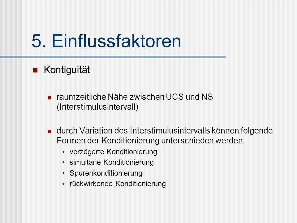 5. Einflussfaktoren Kontiguität raumzeitliche Nähe zwischen UCS und NS (Interstimulusintervall) durch Variation des Interstimulusintervalls können fol