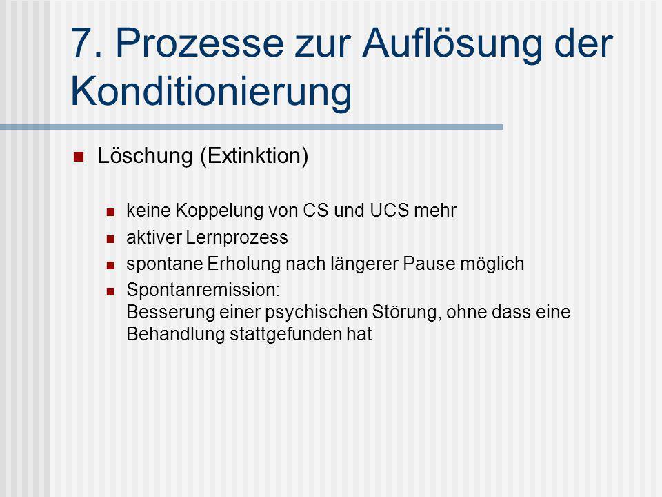 7. Prozesse zur Auflösung der Konditionierung Löschung (Extinktion) keine Koppelung von CS und UCS mehr aktiver Lernprozess spontane Erholung nach län