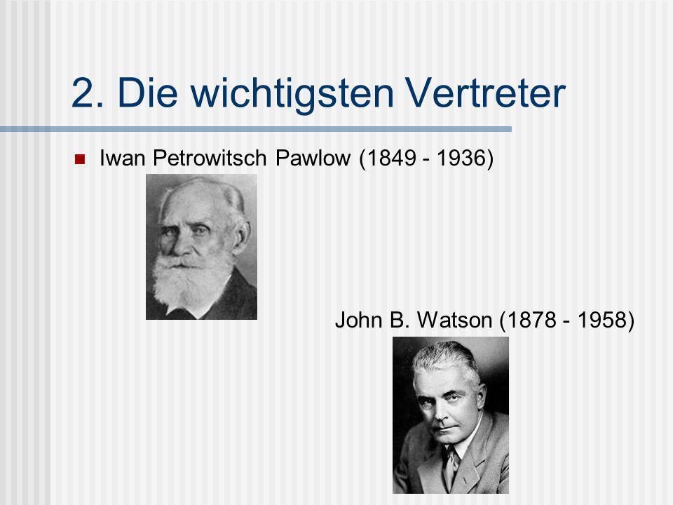 2. Die wichtigsten Vertreter Iwan Petrowitsch Pawlow (1849 - 1936) John B. Watson (1878 - 1958)
