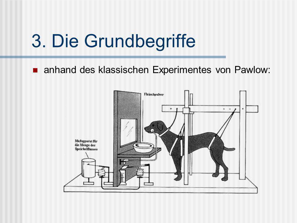 3. Die Grundbegriffe anhand des klassischen Experimentes von Pawlow: