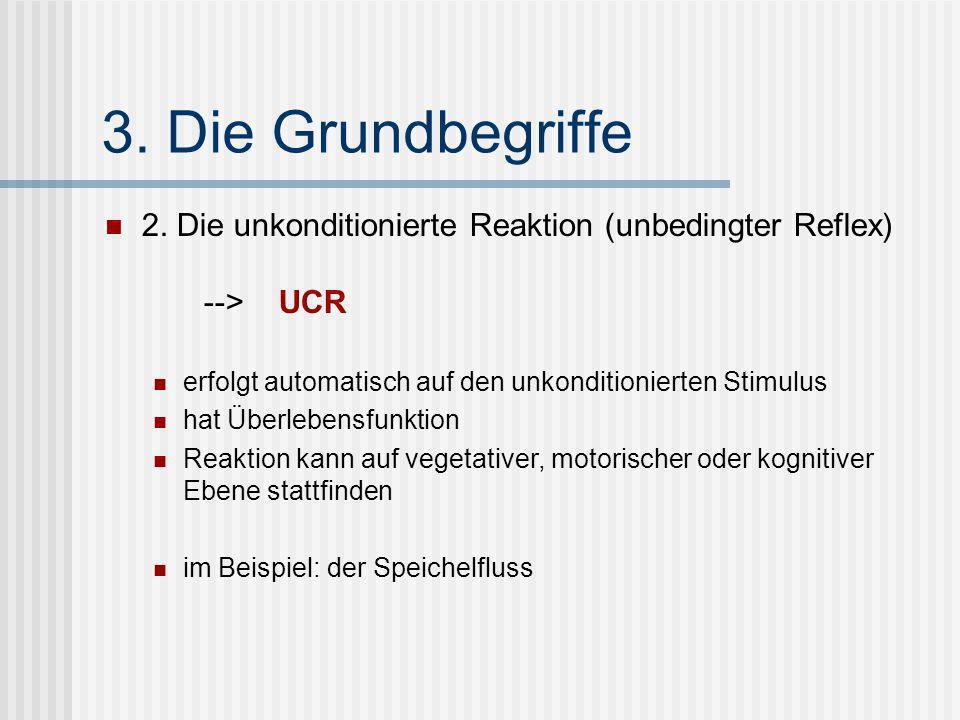 3. Die Grundbegriffe 2. Die unkonditionierte Reaktion (unbedingter Reflex) --> UCR erfolgt automatisch auf den unkonditionierten Stimulus hat Überlebe