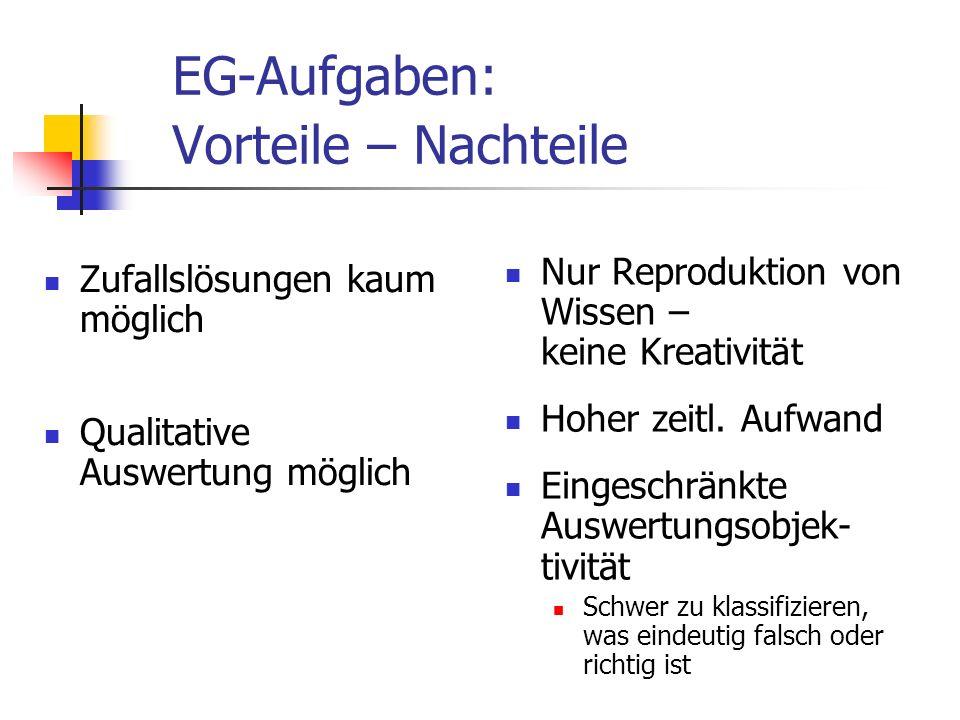 EG-Aufgaben: Vorteile – Nachteile Zufallslösungen kaum möglich Qualitative Auswertung möglich Nur Reproduktion von Wissen – keine Kreativität Hoher ze