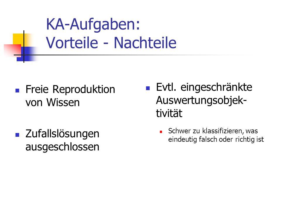 KA-Aufgaben: Vorteile - Nachteile Freie Reproduktion von Wissen Zufallslösungen ausgeschlossen Evtl. eingeschränkte Auswertungsobjek- tivität Schwer z