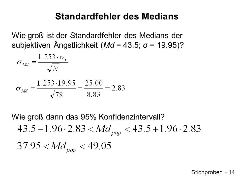Standardfehler des Medians Wie groß ist der Standardfehler des Medians der subjektiven Ängstlichkeit (Md = 43.5; σ = 19.95)? Wie groß dann das 95% Kon