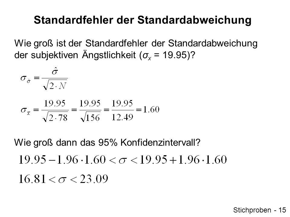 Standardfehler der Standardabweichung Wie groß ist der Standardfehler der Standardabweichung der subjektiven Ängstlichkeit (σ x = 19.95)? Wie groß dan