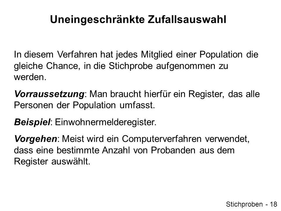 Uneingeschränkte Zufallsauswahl In diesem Verfahren hat jedes Mitglied einer Population die gleiche Chance, in die Stichprobe aufgenommen zu werden. V