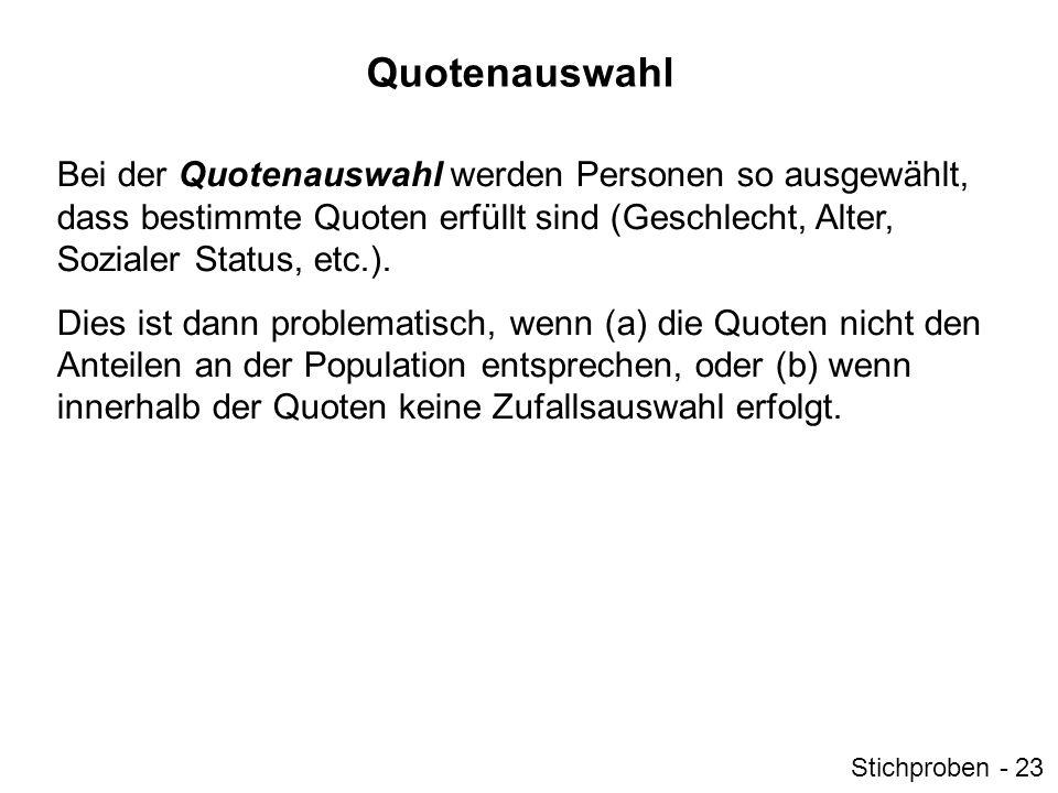 Quotenauswahl Bei der Quotenauswahl werden Personen so ausgewählt, dass bestimmte Quoten erfüllt sind (Geschlecht, Alter, Sozialer Status, etc.). Dies