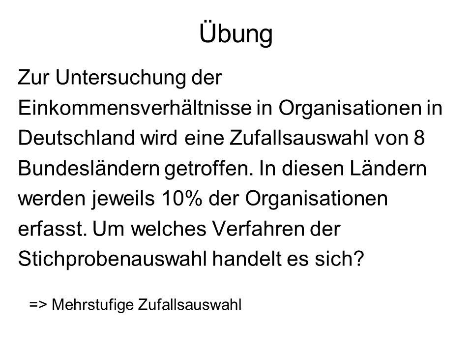 Übung Zur Untersuchung der Einkommensverhältnisse in Organisationen in Deutschland wird eine Zufallsauswahl von 8 Bundesländern getroffen. In diesen L