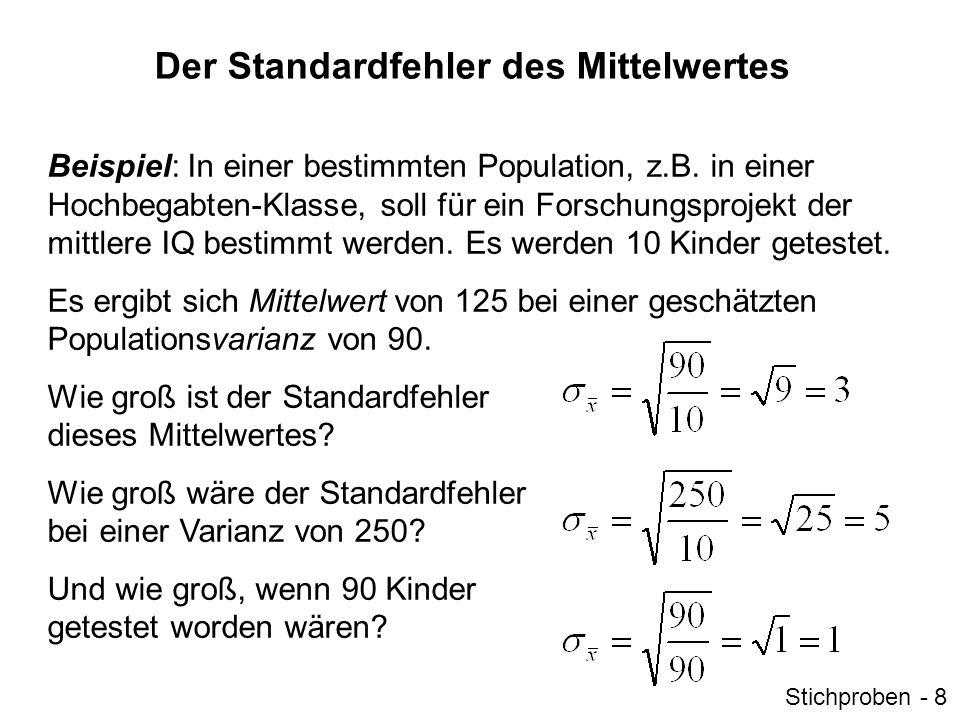 Der Standardfehler des Mittelwertes Beispiel: In einer bestimmten Population, z.B. in einer Hochbegabten-Klasse, soll für ein Forschungsprojekt der mi