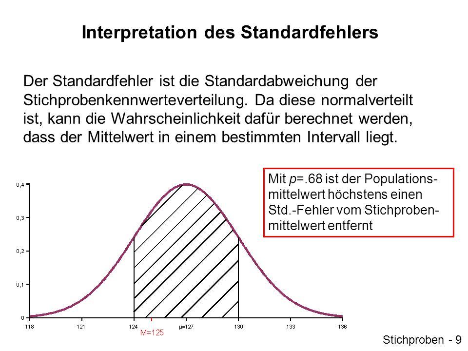 Interpretation des Standardfehlers Der Standardfehler ist die Standardabweichung der Stichprobenkennwerteverteilung. Da diese normalverteilt ist, kann