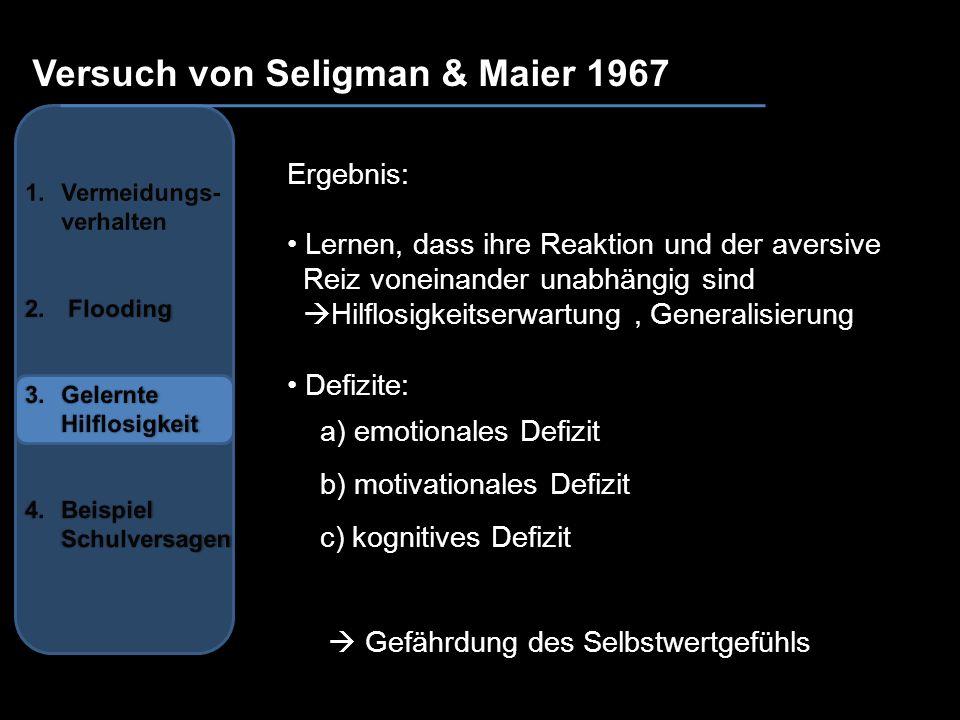 Versuch von Seligman & Maier 1967 Ergebnis: Lernen, dass ihre Reaktion und der aversive Reiz voneinander unabhängig sind Hilflosigkeitserwartung, Gene