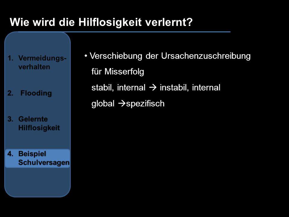 Wie wird die Hilflosigkeit verlernt? Verschiebung der Ursachenzuschreibung für Misserfolg stabil, internal instabil, internal global spezifisch
