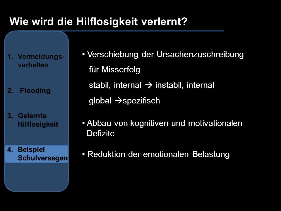 Wie wird die Hilflosigkeit verlernt? Verschiebung der Ursachenzuschreibung für Misserfolg stabil, internal instabil, internal global spezifisch Abbau