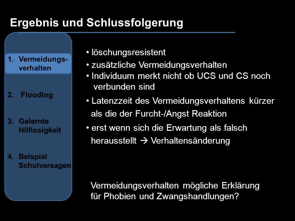 Ergebnis und Schlussfolgerung löschungsresistent zusätzliche Vermeidungsverhalten Individuum merkt nicht ob UCS und CS noch verbunden sind Latenzzeit