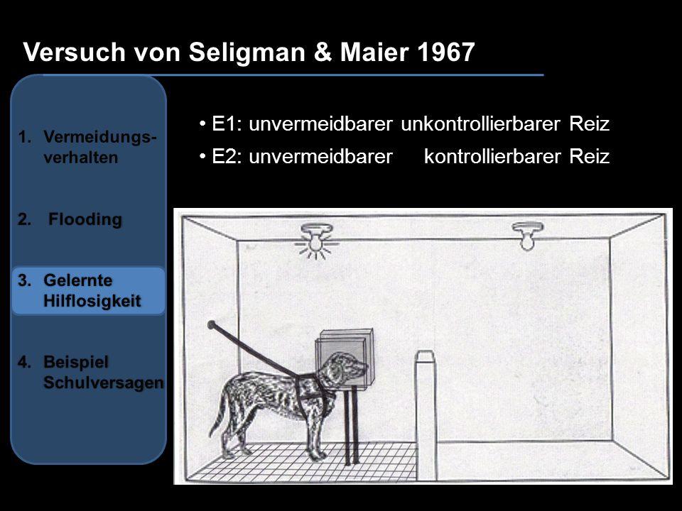 Versuch von Seligman & Maier 1967 Ergebnis: Lernen, dass ihre Reaktion und der aversive Reiz voneinander unabhängig sind Hilflosigkeitserwartung, Generalisierung Defizite: a) emotionales Defizit b) motivationales Defizit c) kognitives Defizit Gefährdung des Selbstwertgefühls