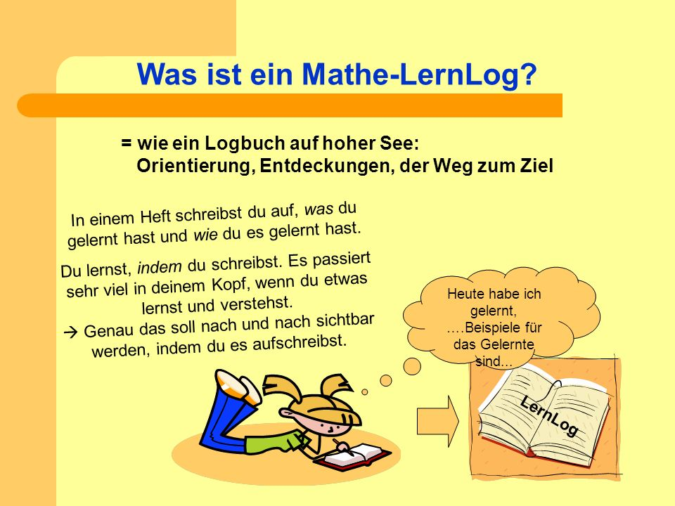 Was ist ein Mathe-LernLog? LernLog Heute habe ich gelernt, ….Beispiele für das Gelernte sind... = wie ein Logbuch auf hoher See: Orientierung, Entdeck