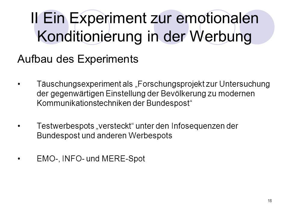 18 II Ein Experiment zur emotionalen Konditionierung in der Werbung Aufbau des Experiments Täuschungsexperiment als Forschungsprojekt zur Untersuchung