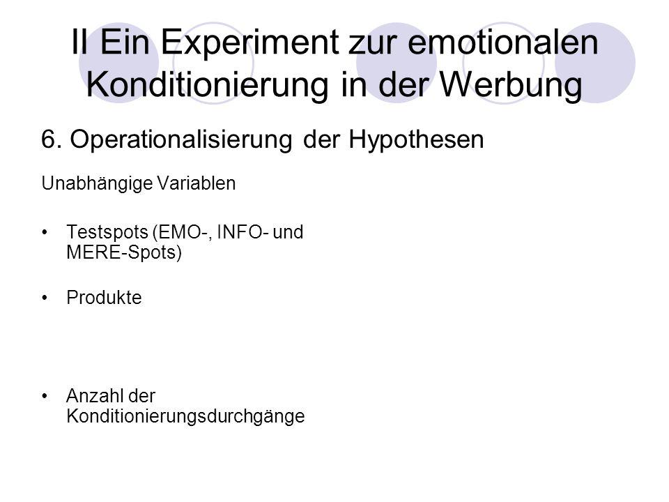 20 II Ein Experiment zur emotionalen Konditionierung in der Werbung Unabhängige Variablen Testspots (EMO-, INFO- und MERE-Spots) Produkte Anzahl der K