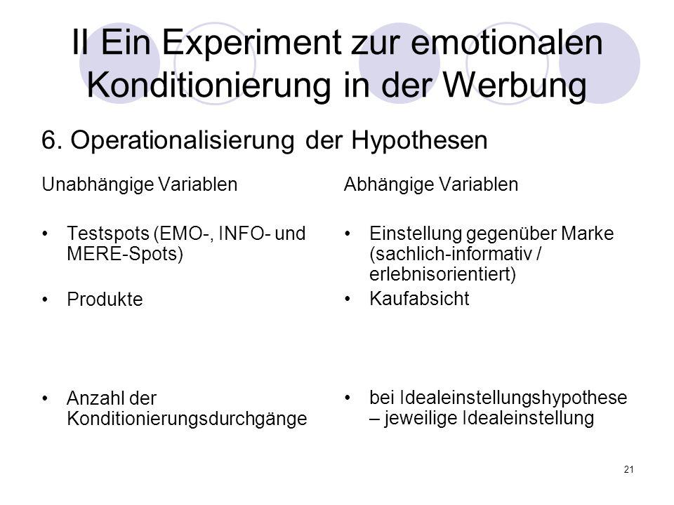 21 II Ein Experiment zur emotionalen Konditionierung in der Werbung Unabhängige Variablen Testspots (EMO-, INFO- und MERE-Spots) Produkte Anzahl der K