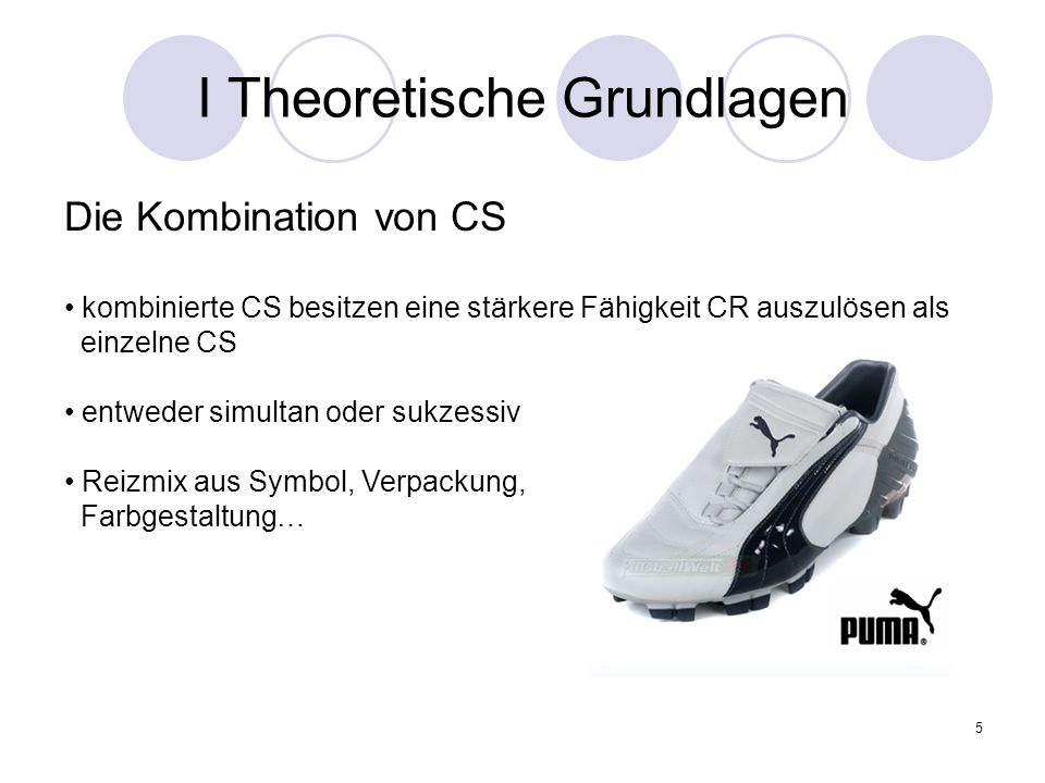 5 I Theoretische Grundlagen Die Kombination von CS kombinierte CS besitzen eine stärkere Fähigkeit CR auszulösen als einzelne CS entweder simultan ode