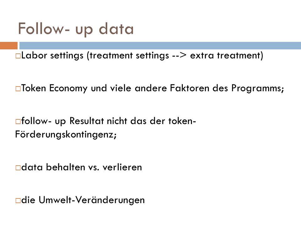 Follow- up data Labor settings (treatment settings --> extra treatment) Token Economy und viele andere Faktoren des Programms; follow- up Resultat nic