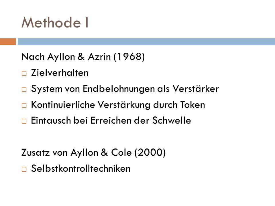 Methode I Nach Ayllon & Azrin (1968) Zielverhalten System von Endbelohnungen als Verstärker Kontinuierliche Verstärkung durch Token Eintausch bei Erre